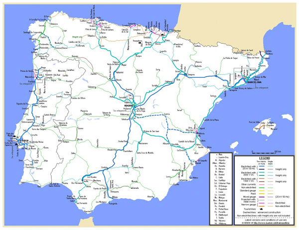 Large detailed railroads map of Spain and Portugal.
