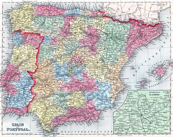 Large detailed relief, administrative and political old map of Spain and Portugal with all cities and roads 1857.