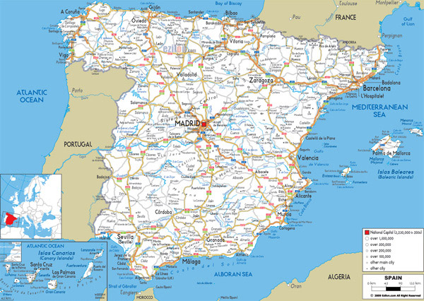 Large detailed road map of Spain with all cities and airports.