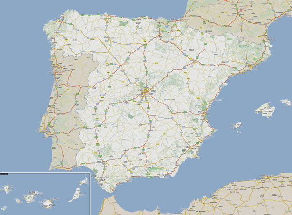 Large detailed roads map of Spain and Portugal.