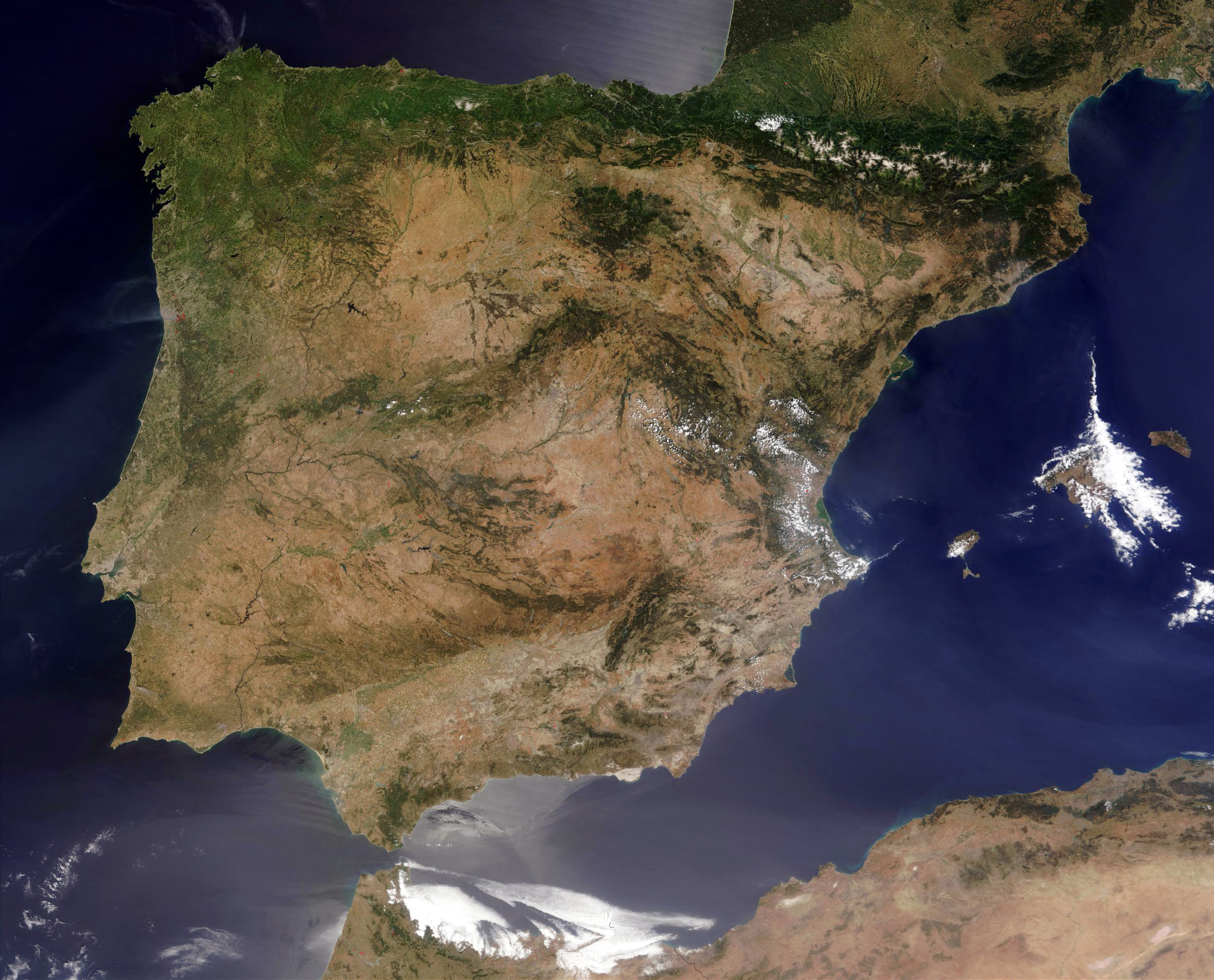 Large Detailed Satellite Map Of Spain Spain Large Detailed