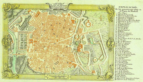 Detailed old map of Madrid city 1762. Madrid city detailed old map of 1762.