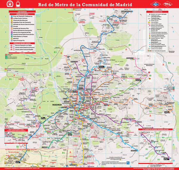 Large detailed metro lines map of Madrid city.