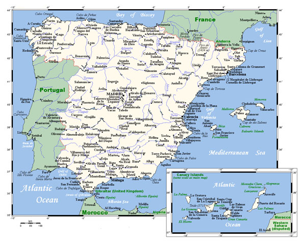 Map of Spain with cities. Spain map with cities.