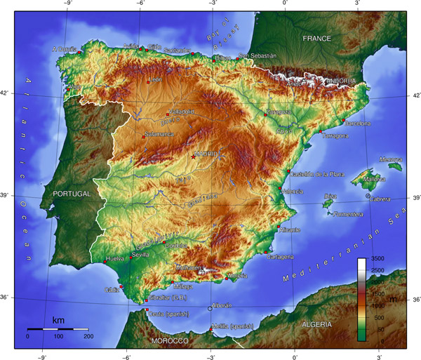 Physical map of Spain. Spain physical map.