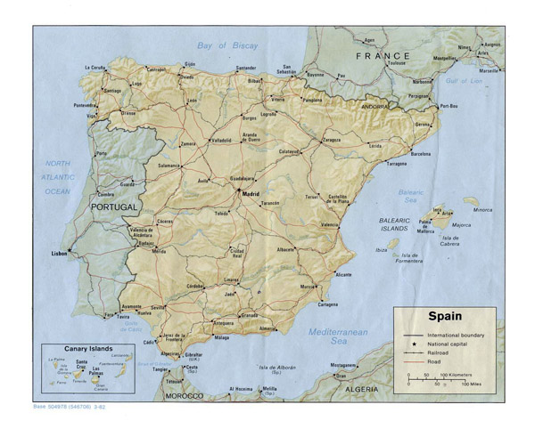 Relief and political map of Spain. Spain relief and political map.