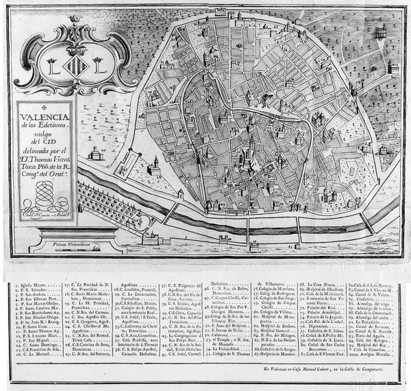 Detailed old map of Valencia - 1738. Valencia detailed old map - 1738.