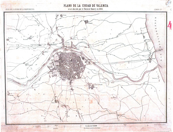 Detailed old map of Valencia city and the surrounding area - 1808.
