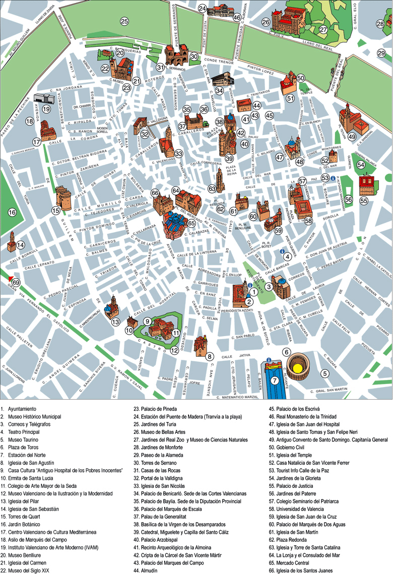 Map Of Spain Valencia.Detailed Tourist Map Of Central Part Of Valencia City In Spain