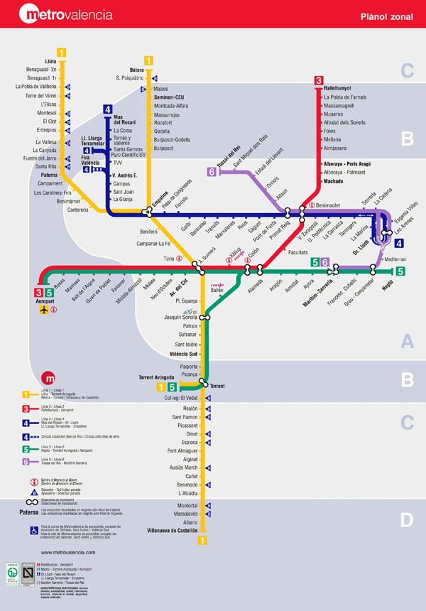 Large detailed metro map of Valencia. Valencia large detailed metro map.