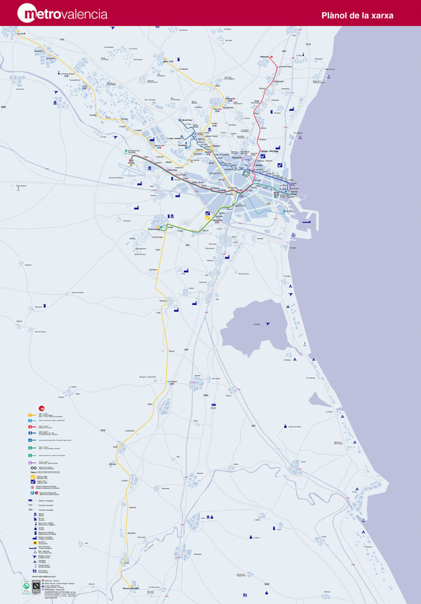 Large detailed metro map of Valencia city.