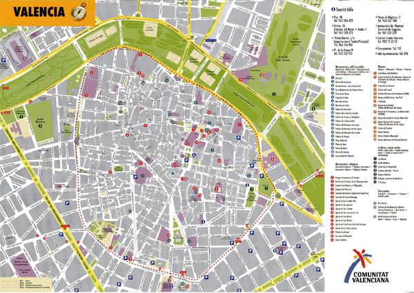 Large detailed tourist map of Valencia downtown.
