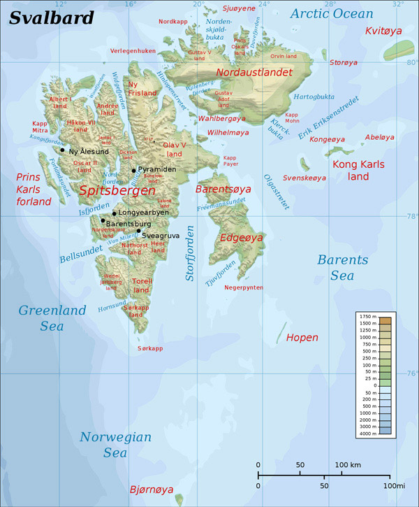 Large detailed topographic map of Svalbard. Svalbard large detailed topographic map.