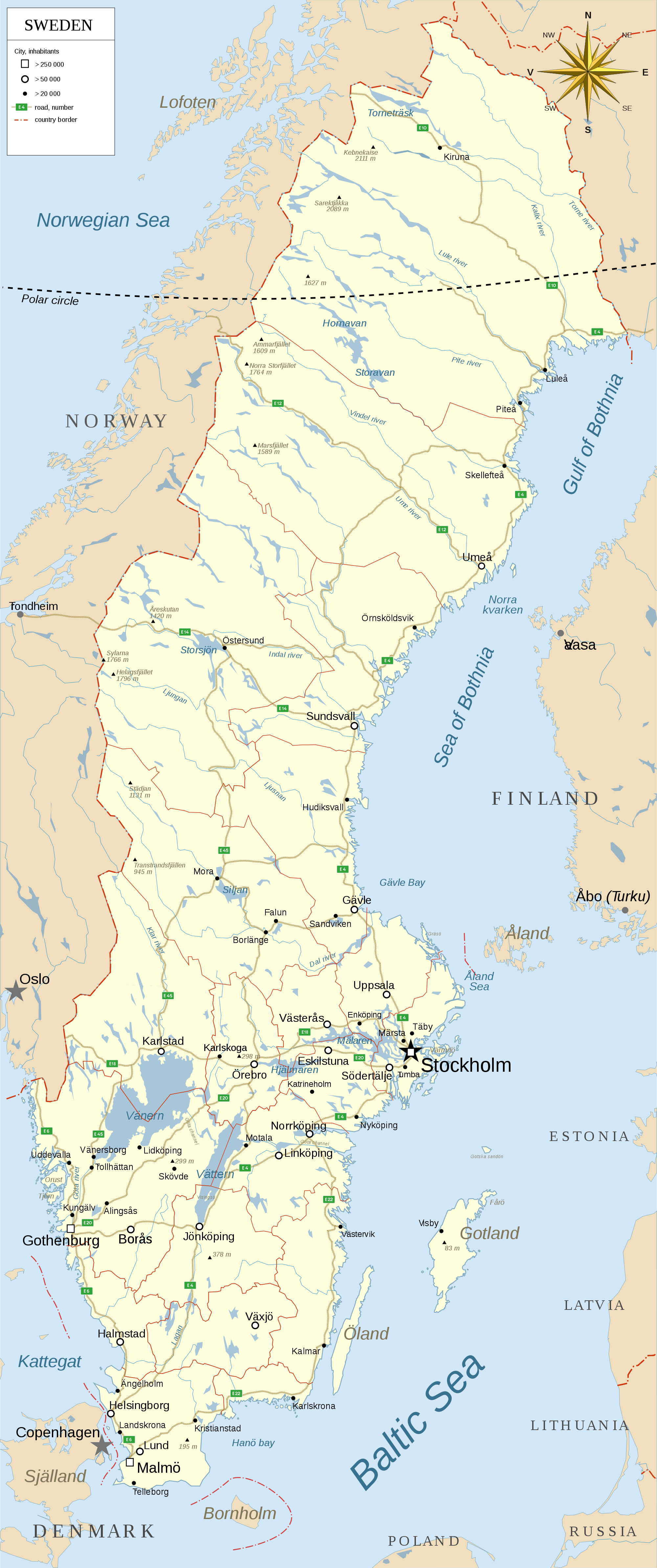 Detailed map of Sweden with administrative divisions roads and