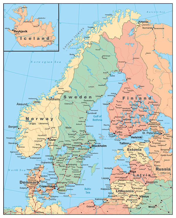 Detailed political map of Scandinavia with roads and major cities.
