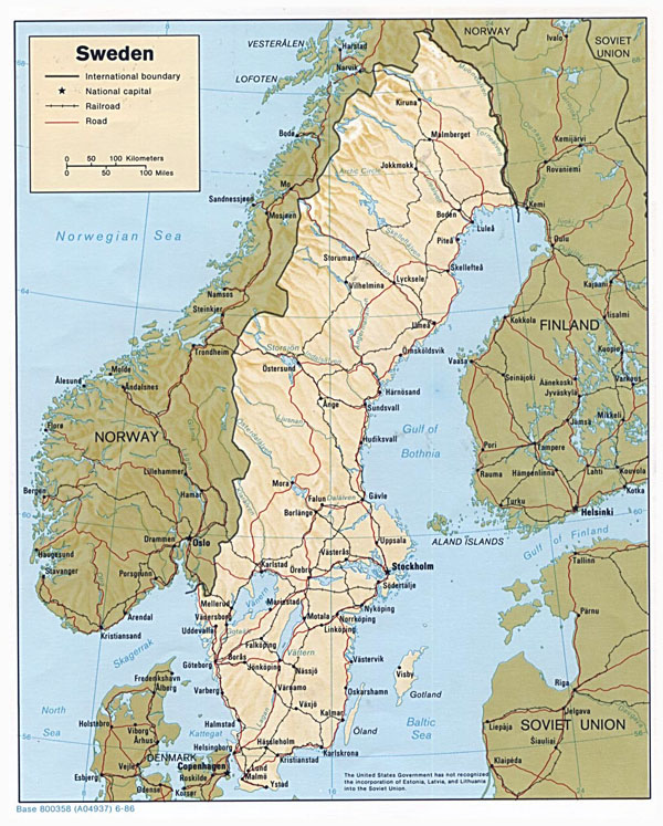 Detailed political map of Sweden with relief - 1986.