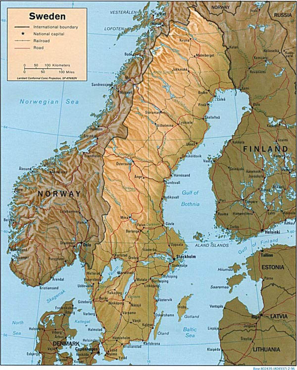 Detailed relief and road map of Sweden. Sweden detailed relief adn road map.