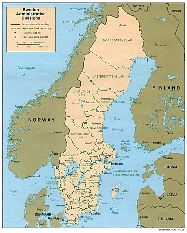 Large administrative map of Sweden. Sweden large administrative map.