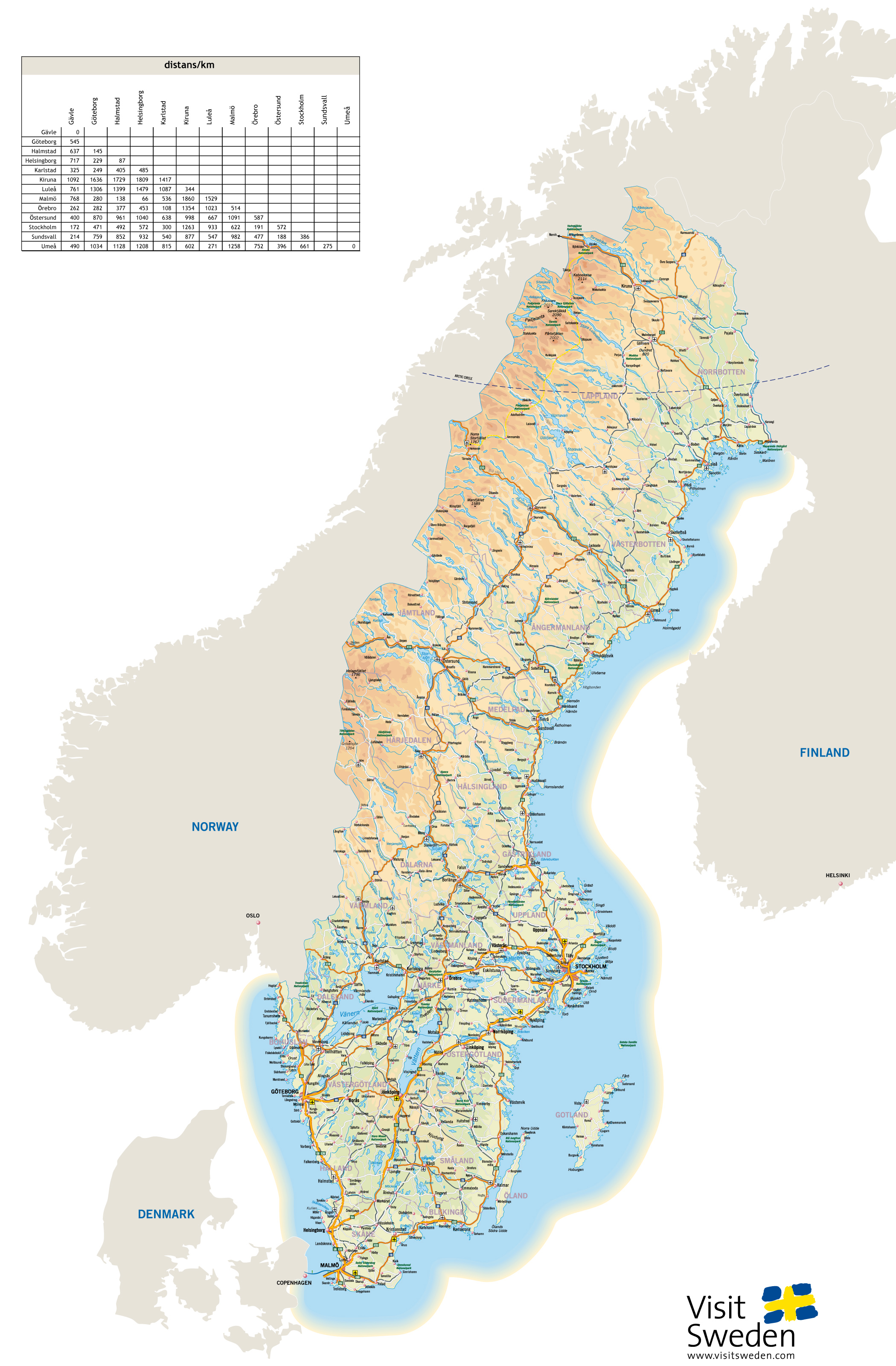 Large detailed highways map of Sweden with all cities and airports