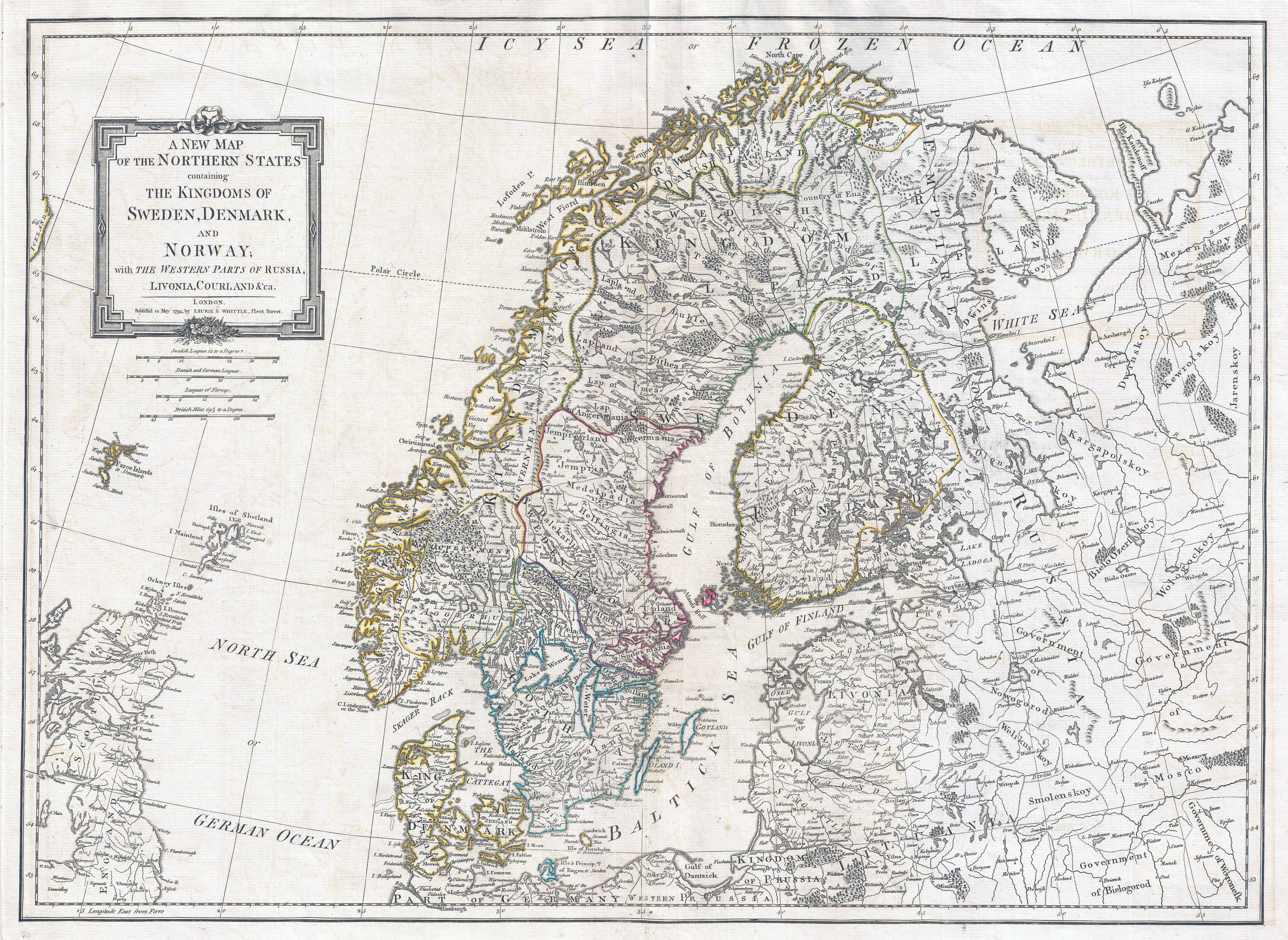Large Detailed Old Map Of Norway Sweden Denmark And Finland - Norway map detailed