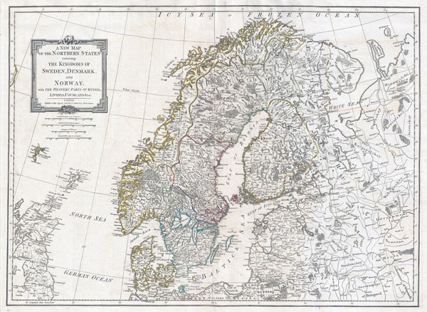 Large detailed old map of Norway, Sweden, Denmark and Finland - 1794.