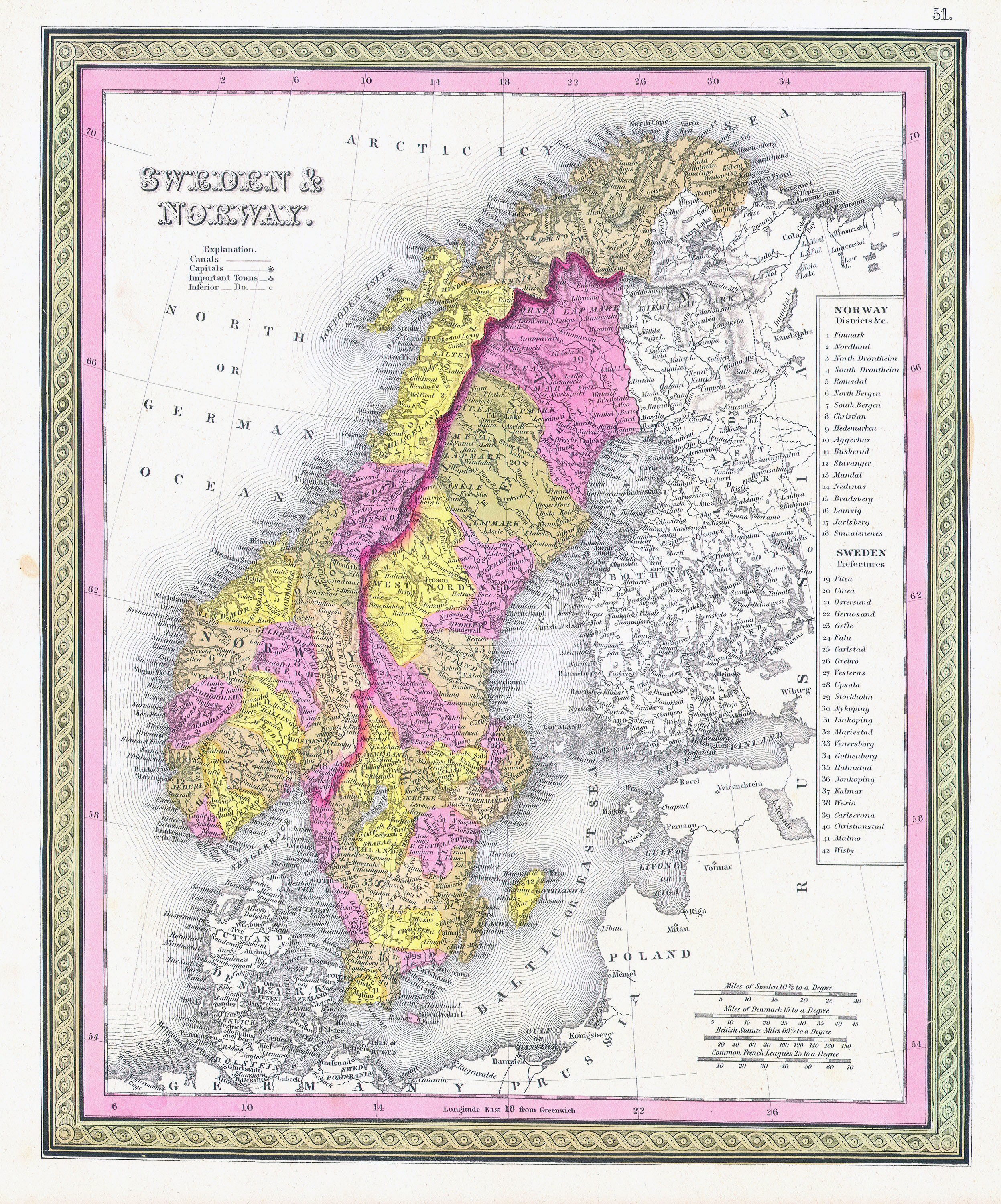 Large detailed old political and administrative map of Sweden and