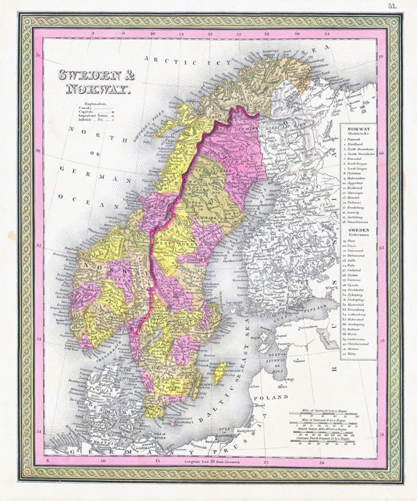 Large detailed old political and administrative map of Sweden and Norway - 1850.