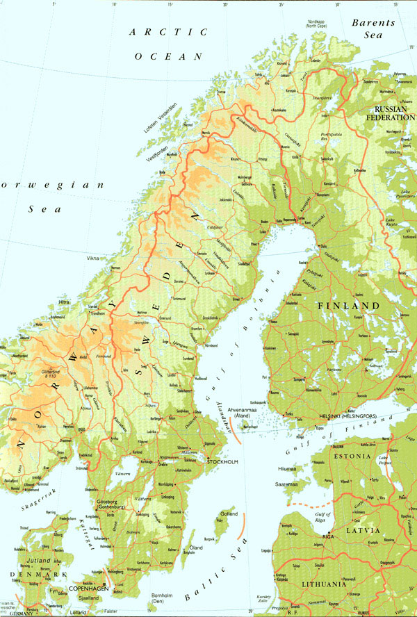 Large detailed physical map of Sweden. Sweden large detailed physical map.