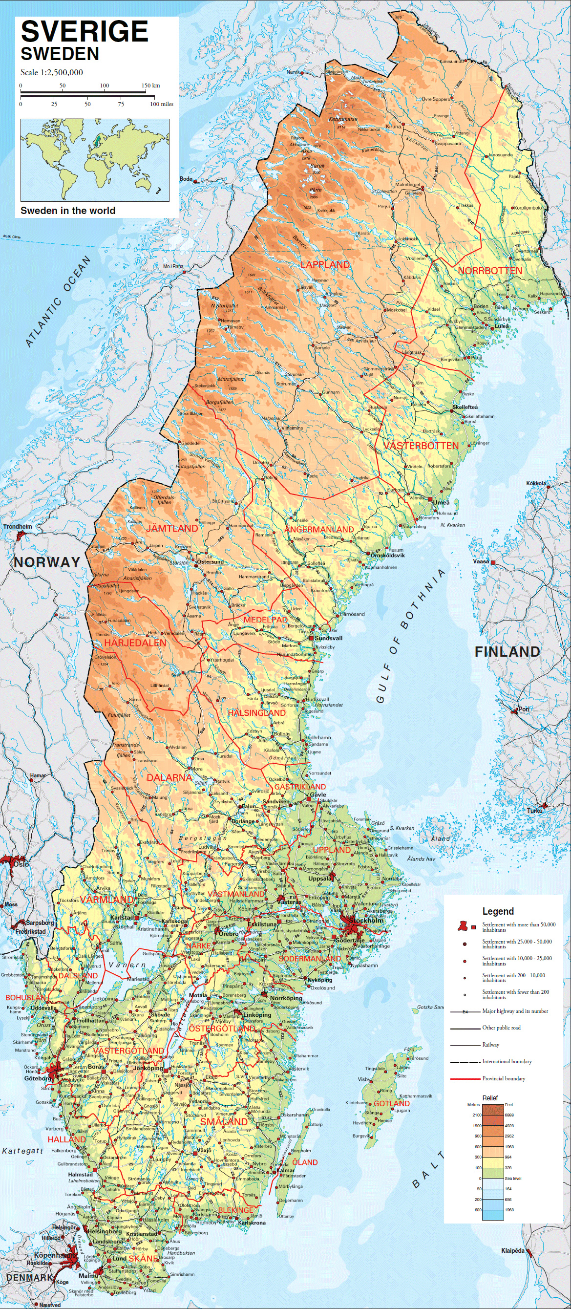 Large detailed physical map of Sweden with all roads villages and
