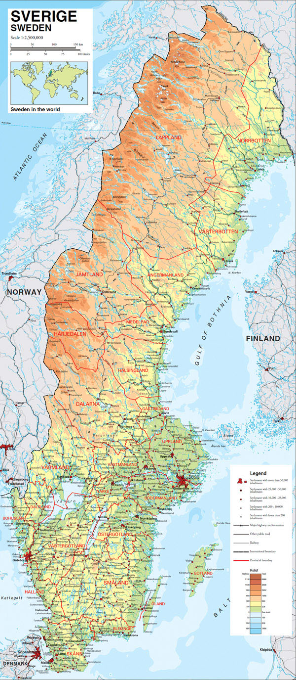 Large detailed physical map of Sweden with all roads, villages and cities.