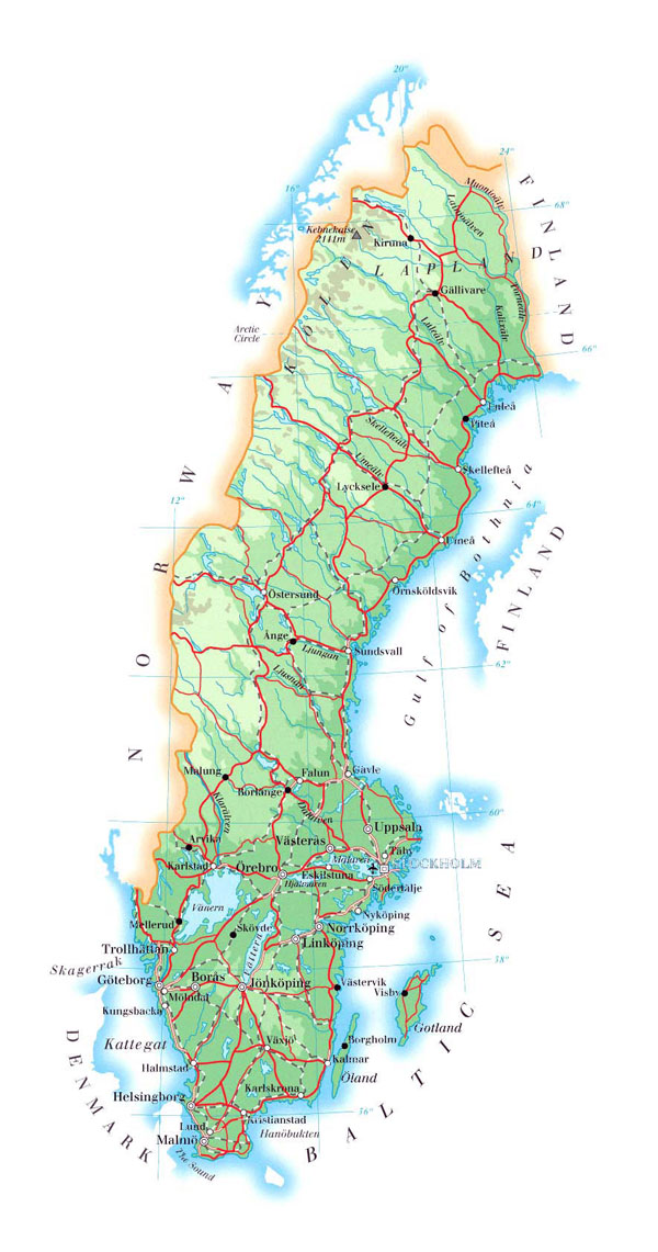 Large detailed physical map of Sweden with roads, cities and airports.