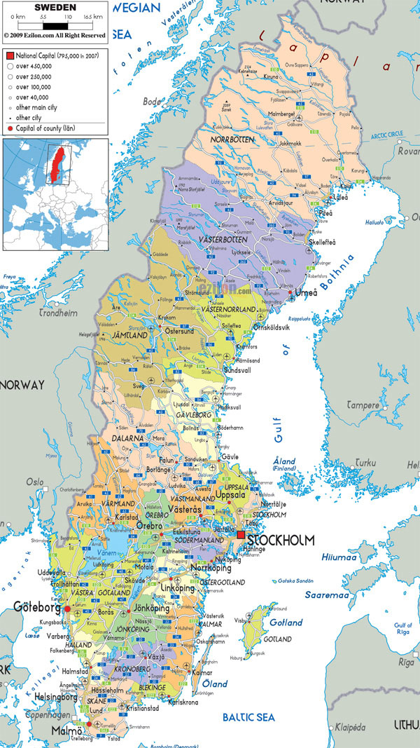 Large detailed political and administrative map of Sweden with all roads, cities and airports.