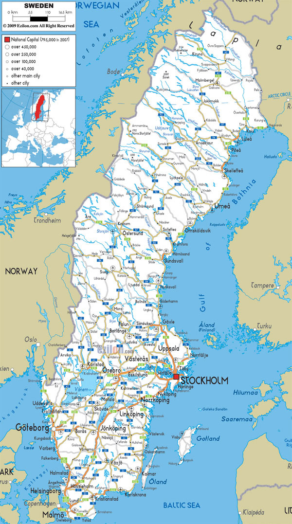 Large detailed road map of Sweden with all cities and airports.