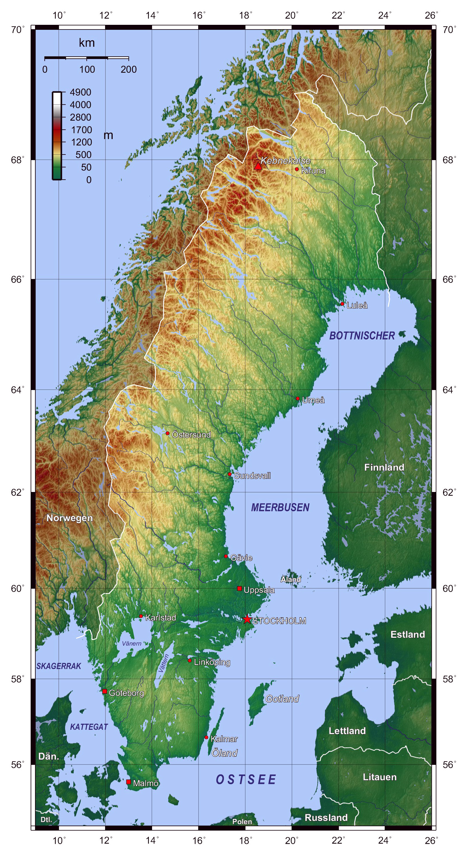 Large Detailed Topographical Map Of Sweden Sweden Large - Norway map detailed