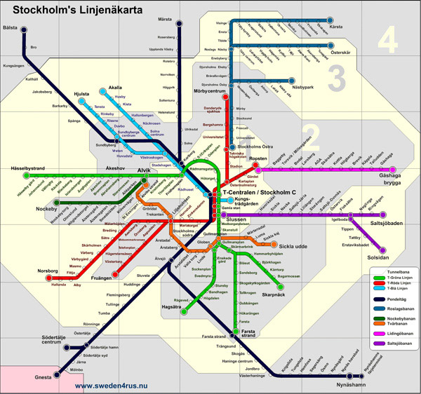 Detailed metro map of Stockholm city. Stockholm city detailed metro map.