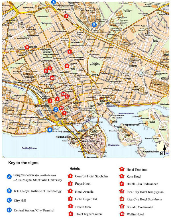 Large detailed hotels map of Stockholm city center.