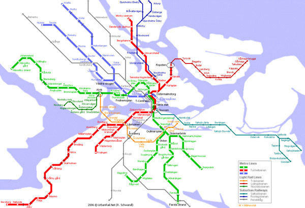 Large detailed metro map of Stockholm city.