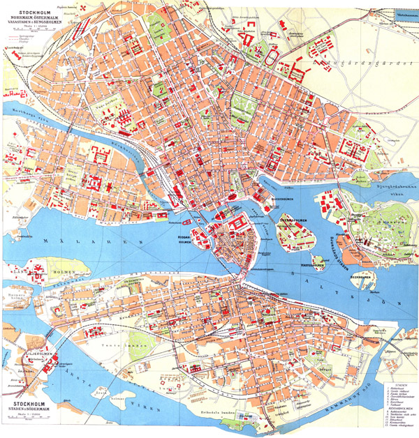 Large detailed old map of Stockholm city.
