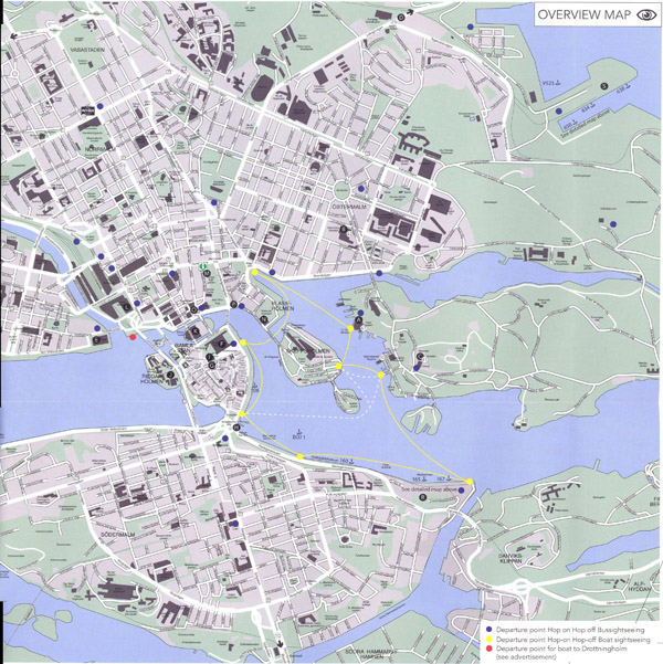 Large detailed road and tourist map of Stockholm city center with buildings.