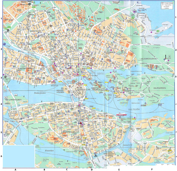 Large detailed road map of Stockholm city center with buildings.
