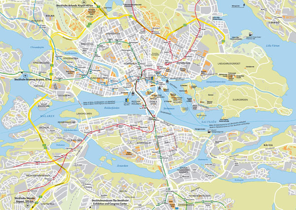 Large detailed roads map of Stockholm city.
