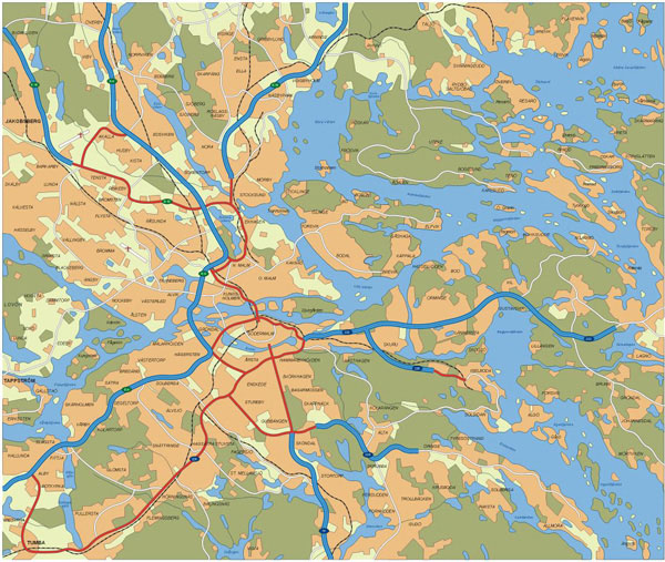 Large transit map of Stockholm city. Stockholm city large transit map.