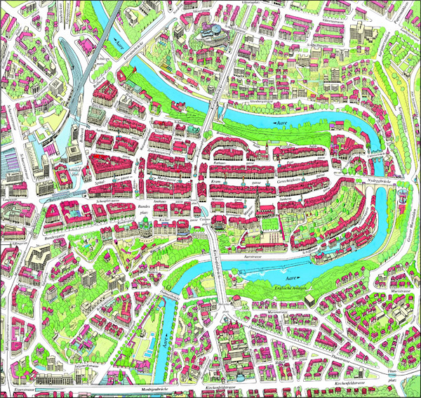 Large detailed panoramic map of Bern city center.