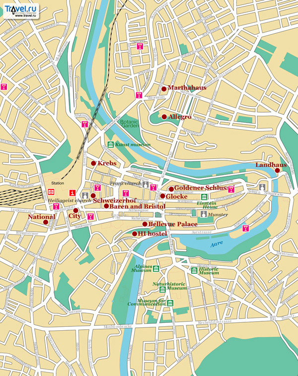 Large detailed road map of Bern city center.