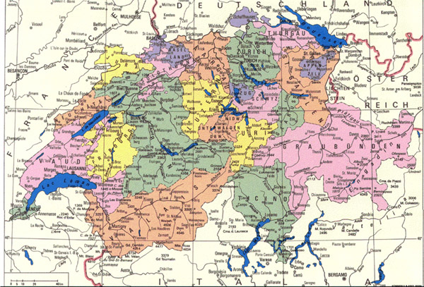 Detailed administrative map of Switzerland. Switzerland detailed administrative map.