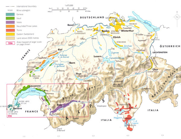Detailed physical map of Switzerland.