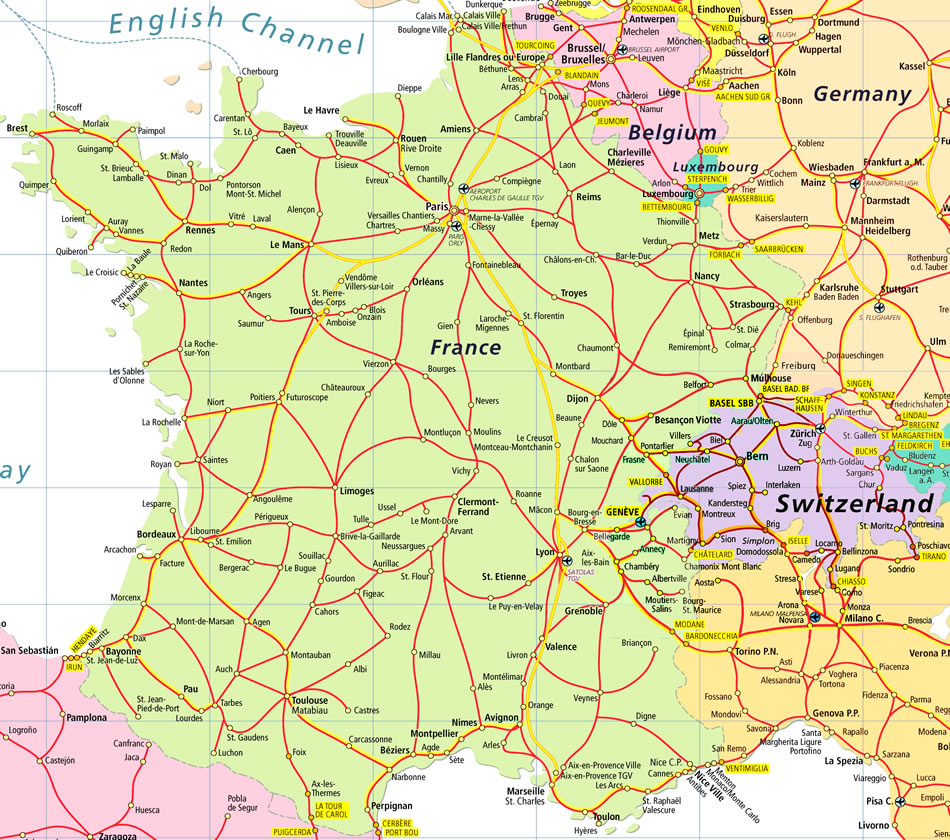 Detailed road map of France and Switzerland France and