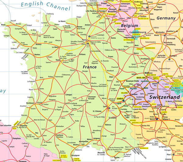 Detailed road map of France and Switzerland.