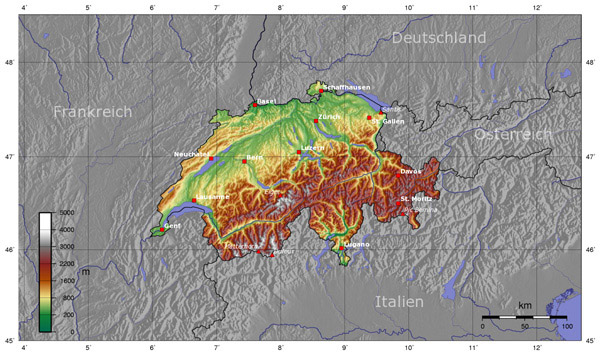 Detailed Switzerland topographical map.