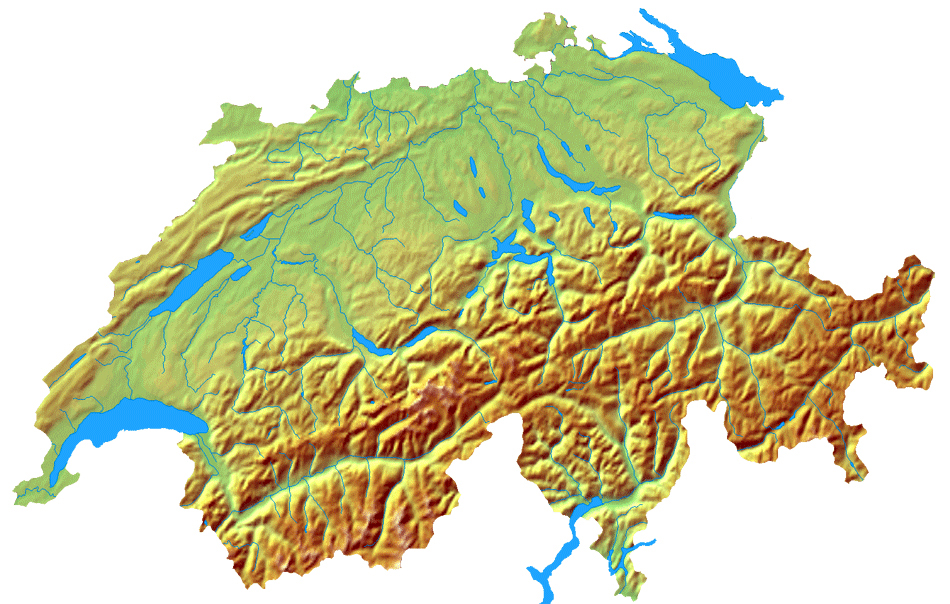 detailed topographical map of switzerland switzerland detailed topographical map